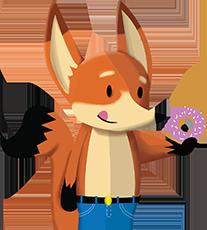 Fox eating donut